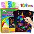 ZMLM Rainbow Scratch Paper Kit: 109Pcs Magic Art Craft Stuff Supplies Black Drawing Pad for Age 3-12 Kids Children Girl Boy DIY Toy Activity Game Kindergarten Educational Party Faver Birthday Gifts by ZMLM