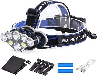 OUTAD ヘッドライト led ヘッドランプ 充電式 IPX6防水 軽量 ヘルメットホルダー付き 18650型バッテリー付き 高輝度 角度調節可能 8つモード アウトドア/夜釣り/防災/登山用/停電用/キャンプ