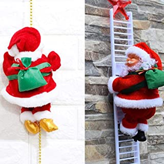 Cascat Christmas Climbing Ladder Santa Claus with Music,8 Inch Electric Animated Walk Santa Claus Toy Home Decoration Ornaments