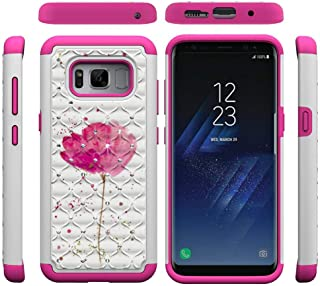 Galaxy S8 Case,Lightweight Durable 2 in 1 Hybrid Protective Case Back Cover Hard PC with Creative Pattern & Point Drill Inner Soft TPU Bumper Anti-Scratch Compatible with Samsung Galaxy S8 -Flower