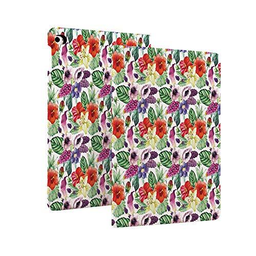 Funda de acuarela para iPad 10.2' 2019 (7ª generación), diseño de flores tropicales, varias plantas tropicales, calla, hibisco, anémona china, superfina y ligera, con función atril y apagado automático F
