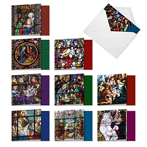The Best Card Company - 10 Religious Christmas Note Cards (4 x 5.12 Inch) - Boxed Angel Greeting Cards, Assorted Set (Not Foil) - A Star is Born AMQ6127XSG-B1x10