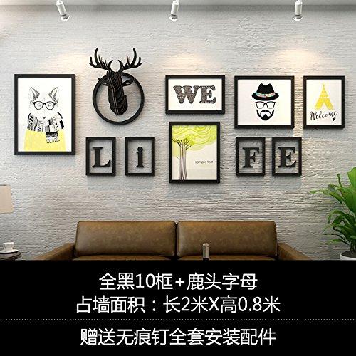 Industrieel ingerichte woonkamer aan de muur in rode shop boutiquen creatieve wandversiering wand hertenhoofd muur alle zwarte 10 box + hertenkop schrijven gemonteerd
