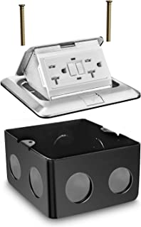 Aweking Pop up Electrical Floor Outlet, Power Box, 20 Amp 125V GFCI Outlet,UL Listed,Stainless Steel Junction Boxe, Aluminium Cover,Square