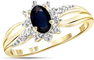 Jewelexcess 0.60 Carat T.G.W. Sapphire and Accent White Diamond 14kt Gold Over Silver Ring