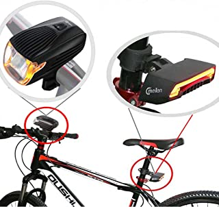 Meilan Bike Light Kit Front and Black Smart Lights for Bike Headlight and Taillight Set,USB Rechargeable,Easy to Instal