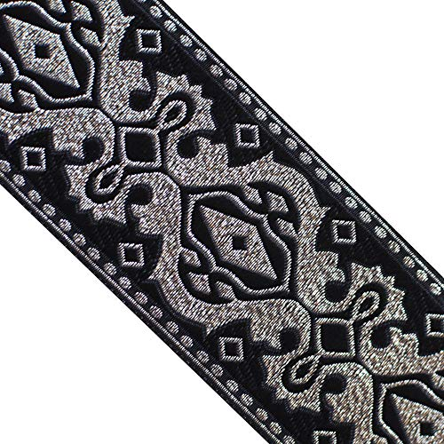 JL 378 Jacquard Metallic Gold Vintage Black Ribbon Trim 2' (50mm) 3 Yards DIY for Sewing Crafting Home Decor, Wedding, Gift Wrapping, Bag Straps. Guitar Straps