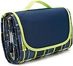 Picnic blanket with built-in carry handle.