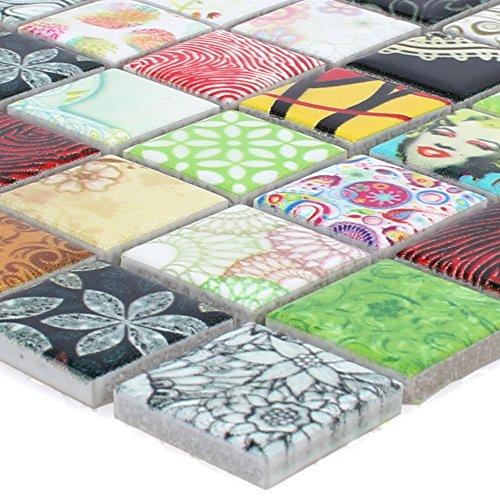 Mosaikfliesen Keramik Dia Bunt für Mosaikstein Badfliesen Bad Wandverkleidung
