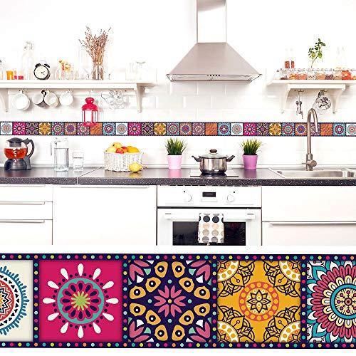 setecientosgramos Cenefa Auto-Adhesiva | Decoración de Pared Cocina & baño, 5 m x 15 cm | Mandala