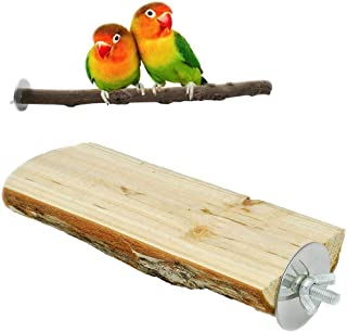 bird perches Parrot Cage Perch, Wooden Platform for Parrot ,Natural Hardwood Branches for Parrot Cages