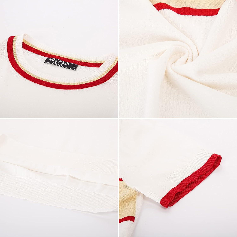 PJ PAUL JONES Men's Casual Color Block Contrast Pullover Sweater Crewneck Short Sleeve Knitwear