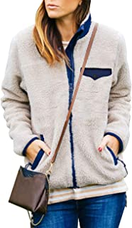 MEROKEETY Womens Long Sleeve Full Zip Sherpa Jackets Patchwork Fleece Coat with Zipper Pockets