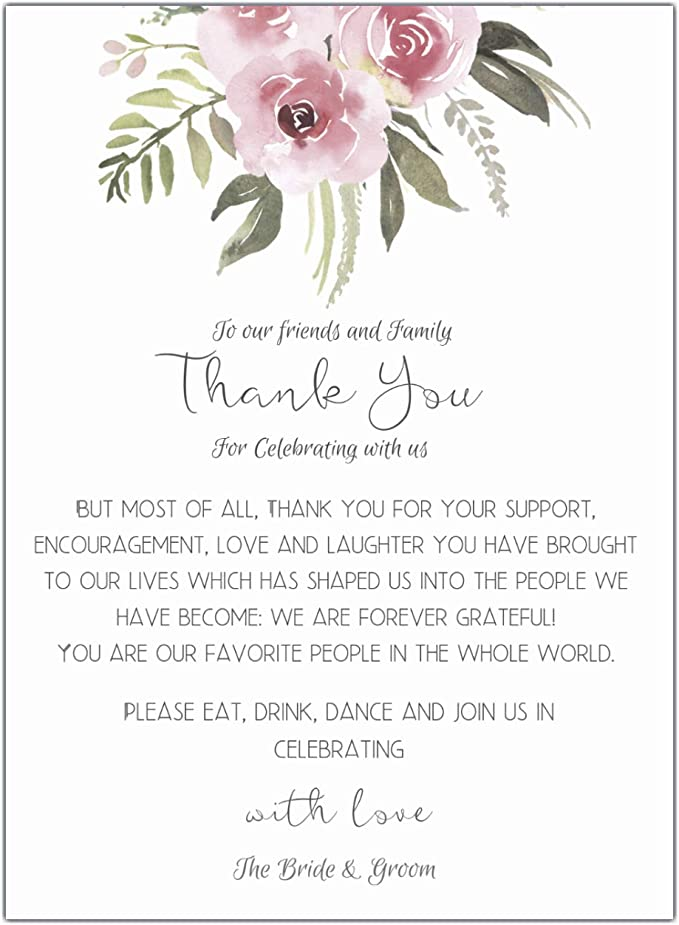 Blush Floral Wedding Thank You Place Setting Cards 4x6 Print to add to your Table Centerpieces and Wedding Decorations /—/Pack of 50