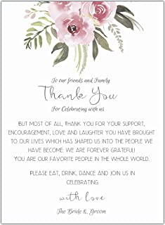 Elcer Floral Wedding Thank You Place Setting Cards Print to add Table Centerpieces Wedding Rehearsal Decorations Placement Thank You Note Favors 4x6 Pack of 50 (Floral)