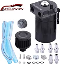 SPEEDWOW Oil Catch Can Air Breather Tank Filter Baffled Universal Black
