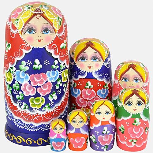 VStoy Beautiful Set of 7 Cutie Nesting Dolls Matryoshka Madness Russian Doll Wooden Wishing Dolls Toy