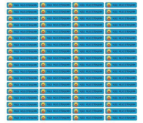Stifteaufkleber für Bleistifte, Kugelschreiber & weiteres Namensaufkleber Namen Sticker Aufkleber 49x7,5mm | 72 Stück Kinder & Erwachsene Schule & Kindergarten 37 Hintergründe Smiley lachend