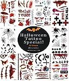 Tatuajes Temporales, QueenDer Impermeable Tatuaje Temporal Halloween Gracioso Cicatriz Terror Simulación Araña Arte Tatoos Tatuaje para Adultos Hombres y Mujeres - 10 Hojas