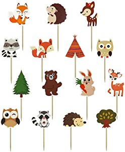 60PCS Woodland Creatures Theme Cupcake Toppers Picks Forest Jungle Animals Cake Decorations for Baby Shower Kids Birthday Safari Party
