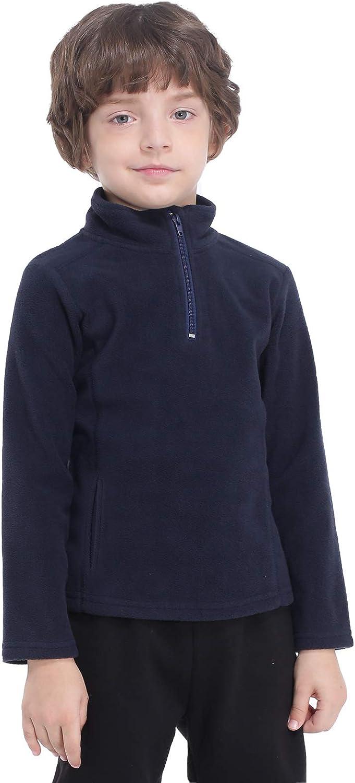 Kuetas Boys Polar Fleece Sweater Jacket with Pockets Youth Mountain Hiking Top 1/4 half Zip Warmth Soft