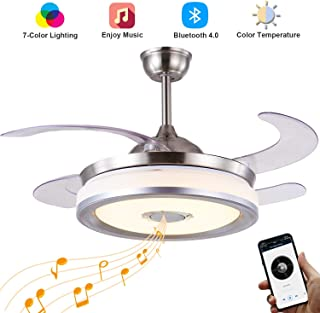 Fan Chandelier with Bluetooth Speaker,Retractable Ceiling Fan with Light 7 Color Change LED Fan Light with Remote Control 42 Inch (Silver)