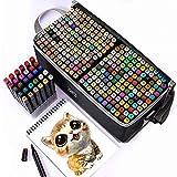 Tongfushop 204 Colores Rotuladores Alcohol, Rotuladores para Principiantes no se Seca Fácilmente, Marker Pen no se Ensuciará Las Manos, de para Niños, Artista, Estudiantes,Subrayar(con Base Fija)