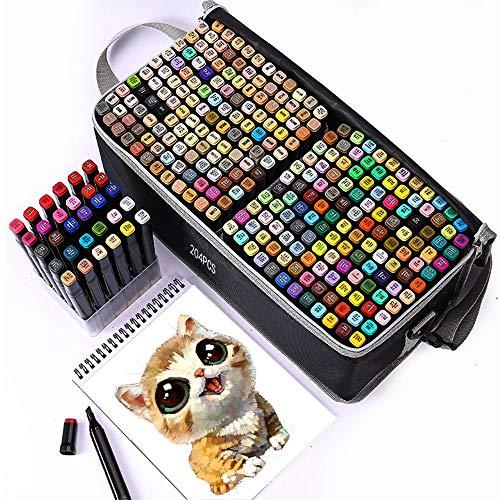 TongfuShop 204 Farben Permanent Marker Set, Filzstifte, Graffiti Stift Permanent Marker, Twin Tip Textmarker, mit Tragetasche für Skizzieren, Malerei Coloring, Hervorhebungen und Unterstrei