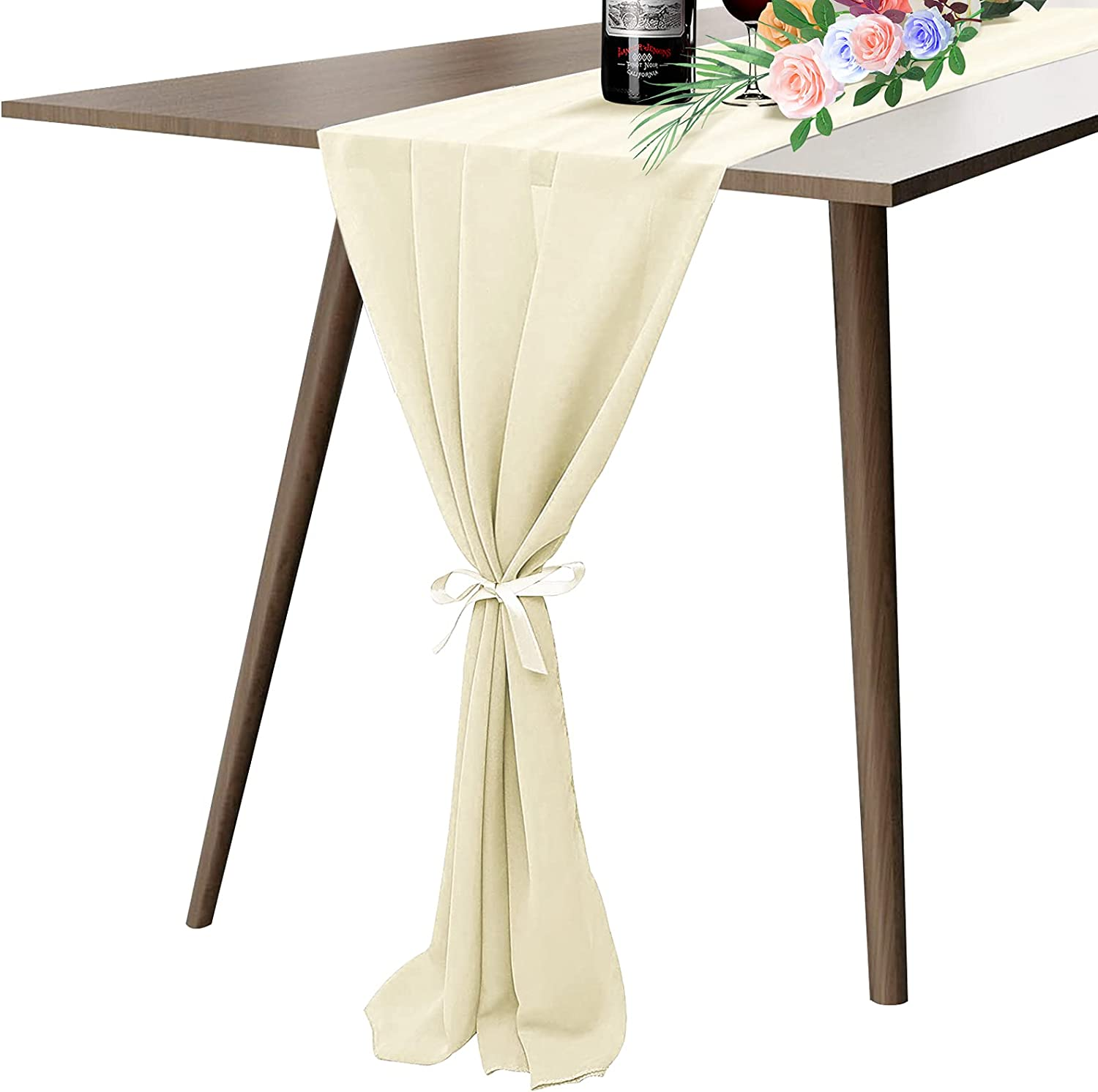 MegaJoy Table Runners 6 Packs Bargain Outlet SALE Rose Ru 27X120 Inches Dusty