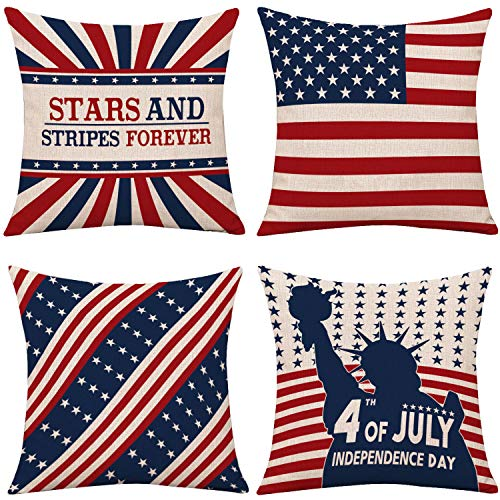 "Whaline 4Pcs 4th of July Pillow Cover, Patriotic Throw Cushion Cover, American Flag Pillow Case, Independence Day Cushion Case for Sofa, Couch, Bedroom Home Decoration, 18"" x 18"""