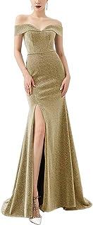 LanierWedding Women's Off Shoulder Side Split Mermaid Prom Evening Gown