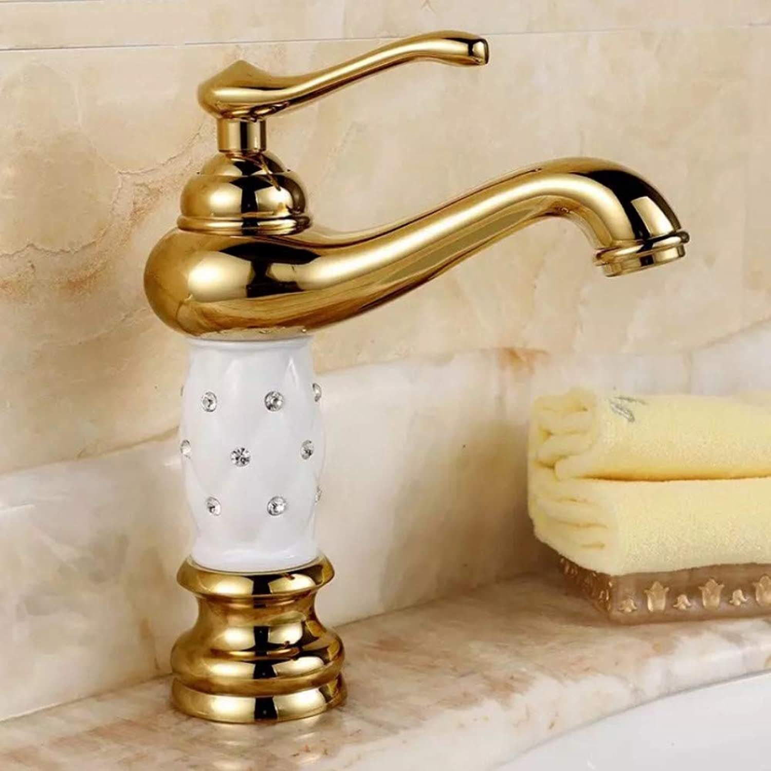 Lddpl Tap Elegant Luxury golden Crystal Hot&Cold Water Bathroom Single Hole Basin Faucet with Diamond Deck Mounted Brass Mixer 1044