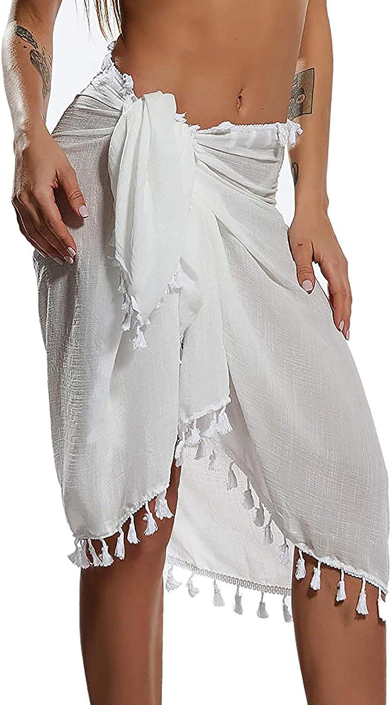 Sinzelimin Women Beach Towel Skirts Solid Color Tassel Beach Wrap Sarong Cover Up Chiffon Swimsuit Wrap Skirts Swimwear