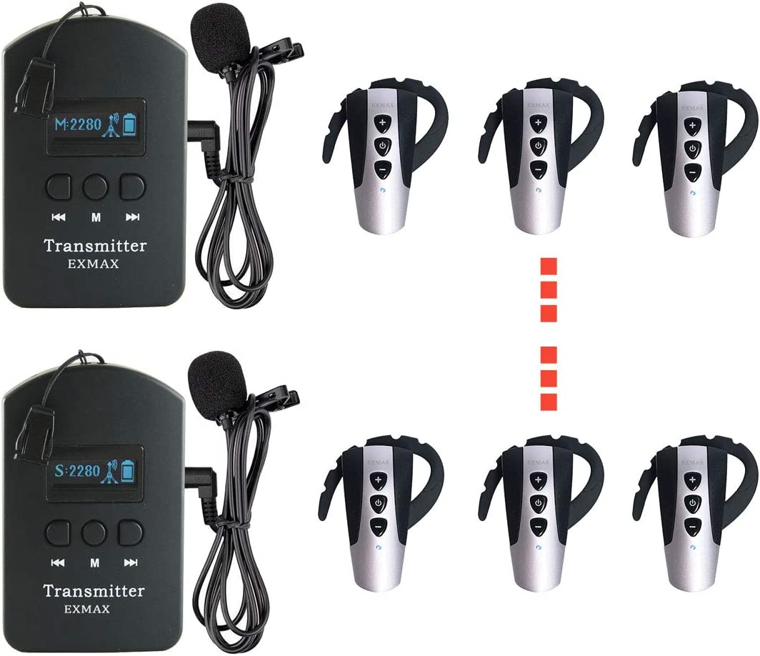 EXMAX 2.4GHz Wireless Audio Tour favorite Guide 5 popular with Mic Headset System E