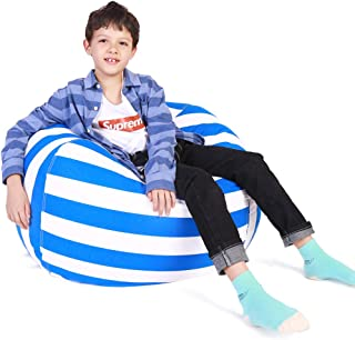 Lukeight Stuffed Animal Storage Bean Bag Chair, Bean Bag Cover for Organizing Kid's Room - Fits a Lot of Stuffed Animals, X-Large/Blue Stripe