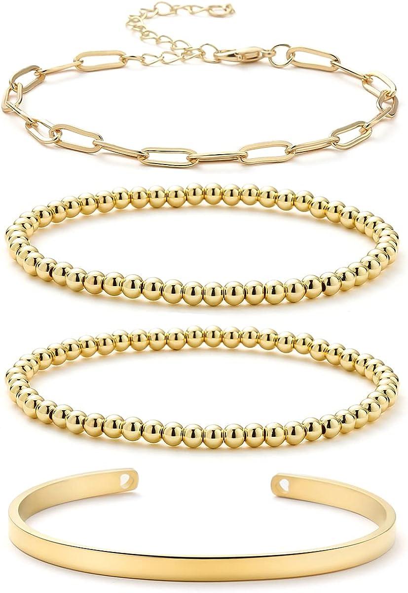 Gold Beaded Bracelets for Women Men 18K Gold Plated Bead Ball Elastic Bracelet Chain Cuff Bracelet Set