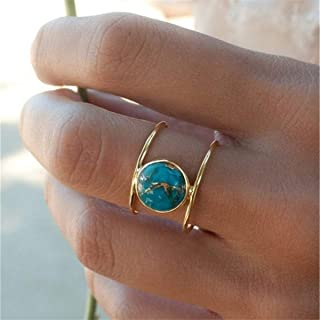 Beiswe Simple Vintage Turquoise Ring for Women Round Natural Stone Engagement Ring Jewelry Gifts,Gold-6#