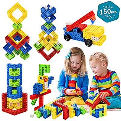 Building Stacking Block Toy, Stack Building Blocks Sensory Toy for Kids STEM Educational Sets Learning & Development Toys Cubes, DIY Build Variations with Funny Puzzle Bricks for Age 3 and Up, 150pcs by GUANGZHOU S-UP KIDS.,LTD