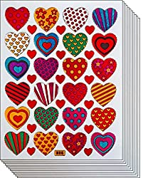 Colorful Valentine Heart Decorative Stickers