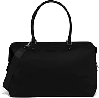 Lady Plume Weekend Bag - Top Handle Shoulder Overnight Travel Duffel Luggage for Women - Black