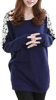 (アナトレ)Anotre レディース 花柄 肩レース デザイン チュニック プルオーバー 長袖 カットソー