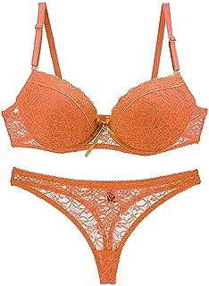 Ladies Underwear Lingerie Set Bra Panties Lingerie Push Up Bustier Feast Clothing Transparent Lace Thong with Rhinestones