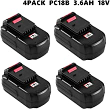 4Pack 3.0Ah NI-CD Replacement for Porter Cable 18V Battery PC18B PCC489N PCMVC PCXMVC