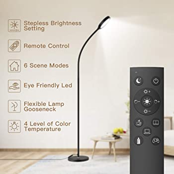 Dimmable LED Floor Lamp with Stepless Dimming 3000-6000K Color Temperature