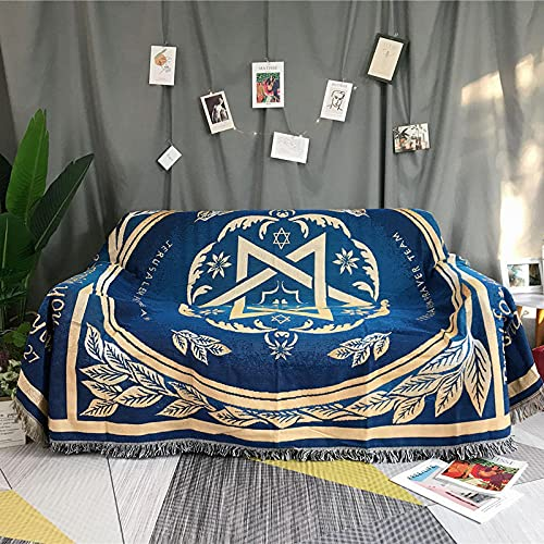haoyunlai Table Cloth Carpet Bed Baby Blanket Sofa cloth multi-function sofa blanket blanket sofa bed cover knit blanket-blue_160*220cm