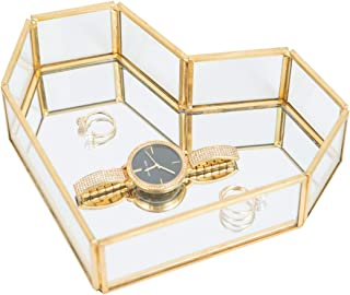 Golden Glass Jewelry Tray, Small Jewel Display Box Clear Glass Case Organizers Lidded Treasure Box Perfect for Desktop, Dr...