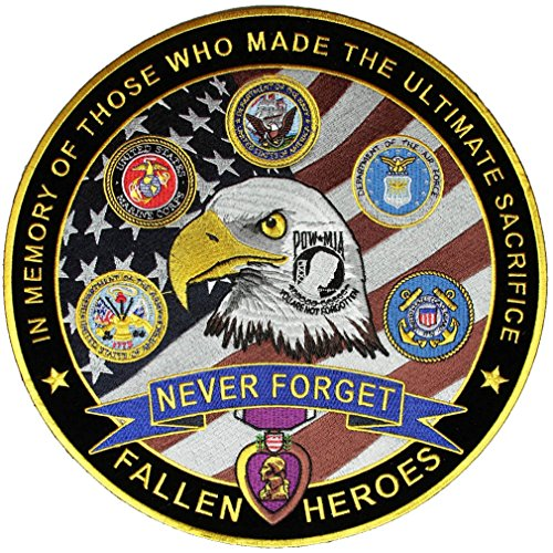 Leather Supreme Patriotic Military Fallen Heroes Never Forget Biker Patch-Yellow-Large