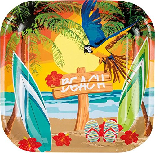 Neu: 6 Teller * Strand & Sonne * für Eine Sommer-Mottoparty | Hawaii Gartenparty Beach Ara Hibiskus Motto Party Pappteller Partyteller Plates