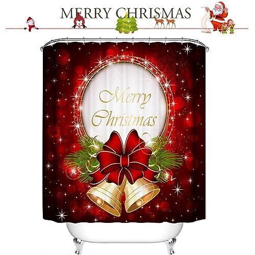 Shaoyunshop Merry Christmas Shower Curtain Waterproof Fabric Polyester Fantastic Bell Bathroom Decor