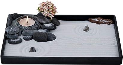 ICNBUYS Handmade Zen Garden Pebble Tealight Candle Holder Set Quiet Spring with Free Zen Garden Tools, Sand, Base Tray and...